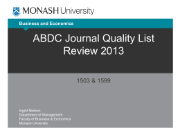 ABDC Journal Quality List Review 2013