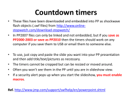 Manually Set Countdown Timers