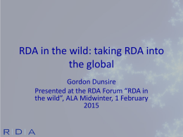 RDA in the wild - Gordon Dunsire
