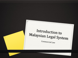 Introduction to Malaysian Legal System