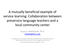 A mutually beneficial example of service learning: Collaboration