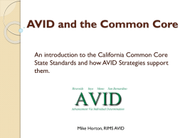 AVID and the Common Core