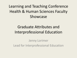 Graduate Attributes and Interprofessional Education