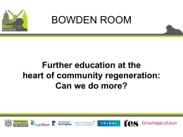 Further education at the heart of community regeneration