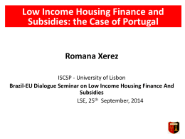 Low Income Housing Finance and Subsidies: The Case of Portugal