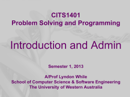 CITS1401 Problem Solving and Programming