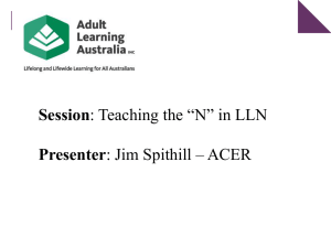 Teaching the `N` in LLN - Adult Learning Australia