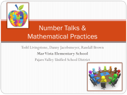 Number Talks and Mathematical Practices