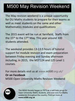 May Revision Weekend - The Open University