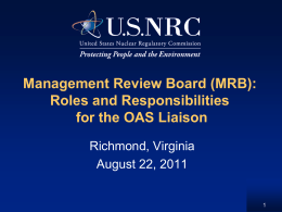 MRB Roles & Responsibilities of the AS Liaison