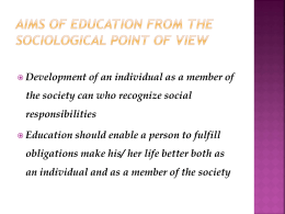 Aims of education from the sociological point of view