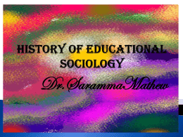 History of educational sociology
