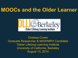 MOOCs and the Older Learner