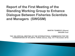 Report of the First Meeting of the Standing Working Group to