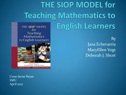 THE SIOP MODEL for Teaching Mathematics to English