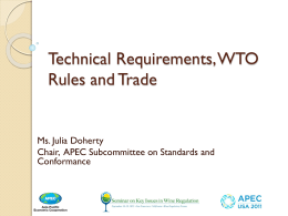 Technical Requirements, WTO Rules and Wine