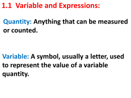 1_1 Variables and Expressions