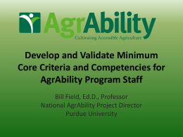 Core Competency - National AgrAbility Project