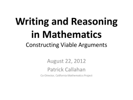 writing and reasoning in math
