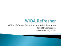 WIOA Refresher PPT - National Adult Education Professional
