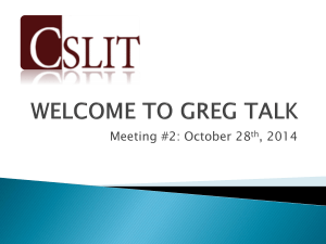Greg Talk October 2014 - Toronto Catholic District School Board