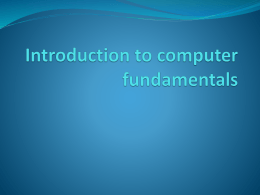 Introduction to computer fundamentals