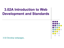 3.02A Introduction to Web Development and Standards