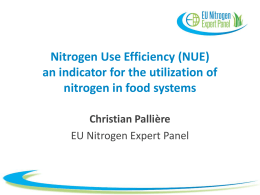(NUE) an indicator for the utilization of nitrogen in food