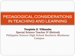 pedagogical considerations in teaching and learning