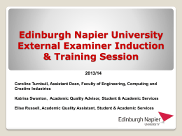 Edinburgh Napier University External Examiner Induction & Training