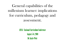 Assessing the Capabilities of our Millennium learners