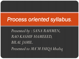 Process oriented syllabus.