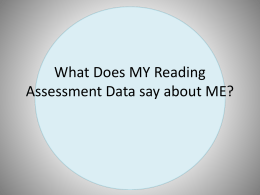 What Does MY Reading Assessment Data say about ME?