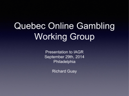 Quebec Online Gambling Working Group