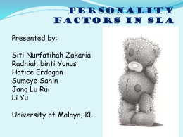 CHAPTER 6: PERSONALITY FACTORS