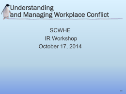 Understanding and Managing Workplace Conflict