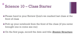 Science 10 * Class Starter - Mr. Lawson`s Website