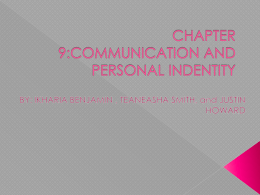 Communication and Personal Identity - Chapter 9