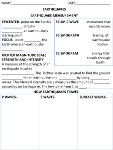Earthquake Worksheet - Earth science investigators