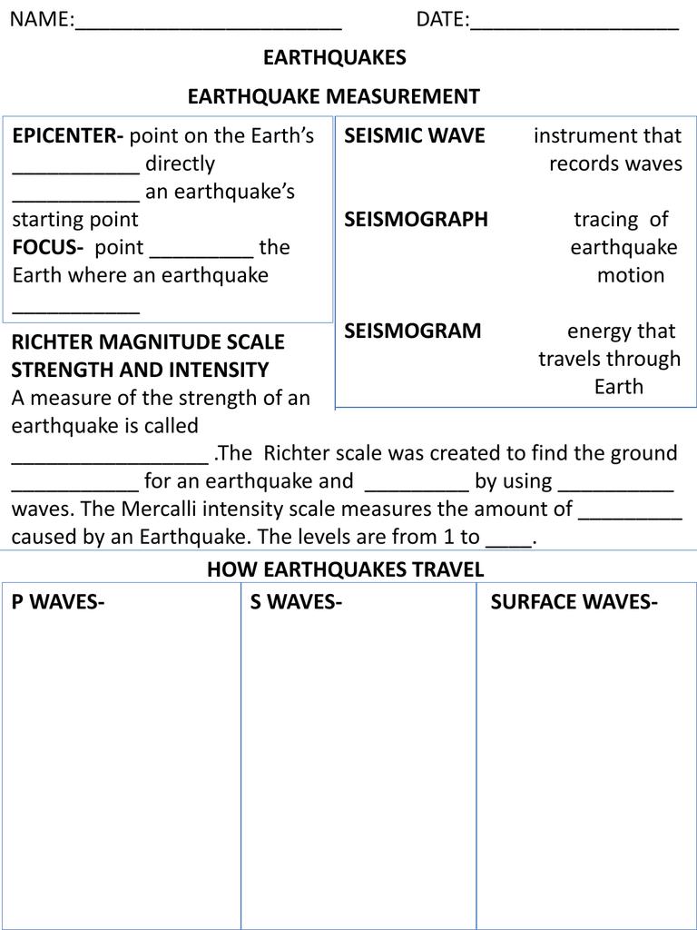 Earthquake Worksheet Earth Science Investigators