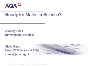 Ready for Maths in Science?