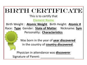 Element Birth Certificate