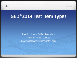 GED®2014 Test Item Types