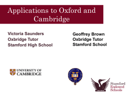 Applications to Oxford and Cambridge