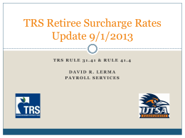 TRS Surcharge Rates Effective 9/1/2013