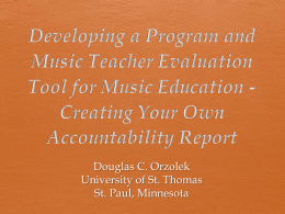 Developing a Program and Music Teacher Evaluation Tool