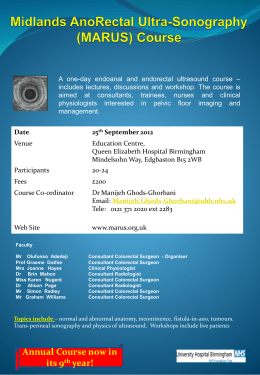 Midlands AnoRectal Ultra-Sonography (MARUS) Course