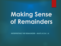 PowerPoint Making Sense of Remainders