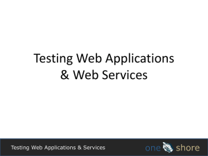 Testing Web Apps and Services introduction to a 2 day