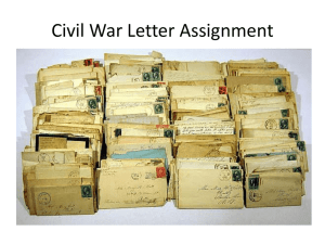 Civil War Letter Assignment